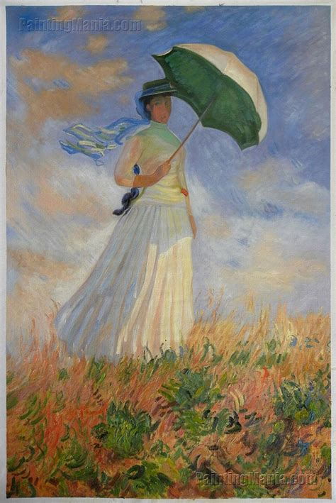 Woman with a Parasol Facing Right - Claude Monet Paintings