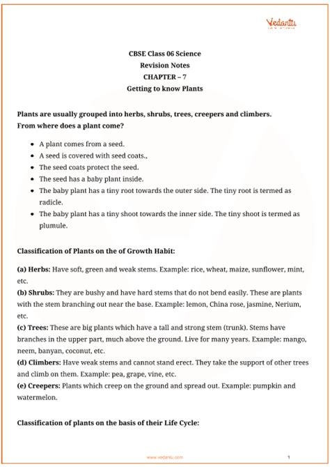 CBSE Class 6 Science Chapter 7 - Getting to Know Plants