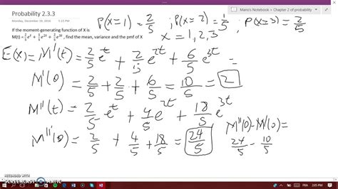 How to calculate the mean, variance and pmf of a m