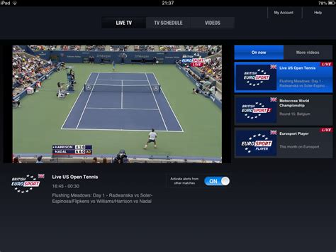 Watching the US Open Tennis Tournament in the UK using