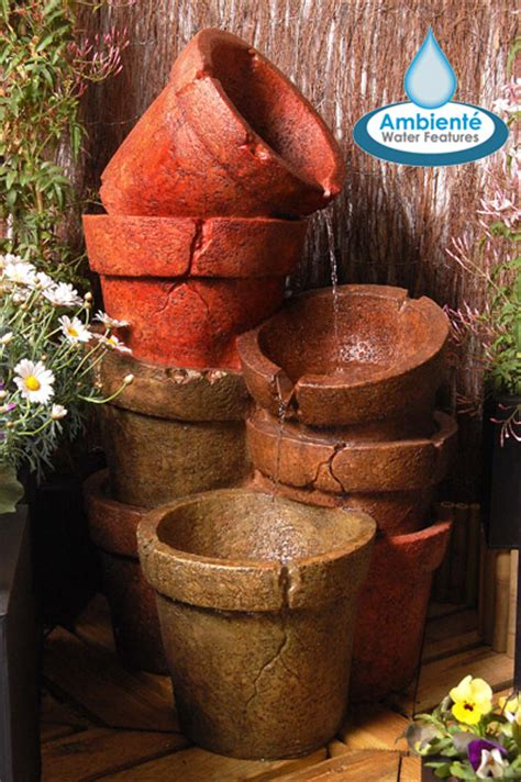 Stacked Plant Pot Cascading Water Feature with Lights by