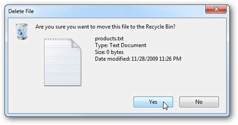 Manage the Delete Confirmation Dialog box in Windows 7