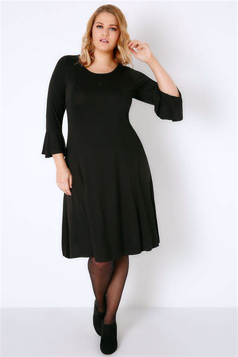 Black Fit & Flare Jersey Dress With Flute Sleeves plus