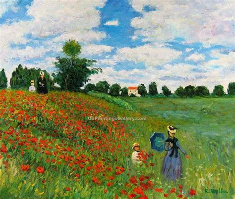 Red Poppies at Argenteuil by Claude Monet   Landscape Oil