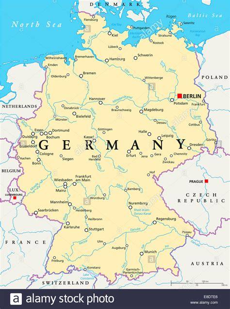 Germany Political Map with capital Berlin, national